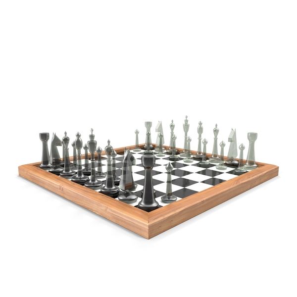 Chess Board with Glass Pieces Object