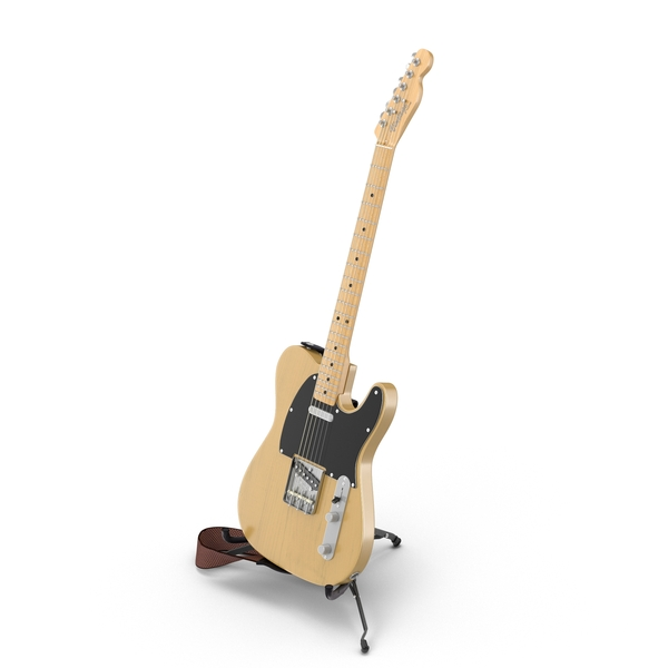Vintage Electric Guitar On A Stand Object