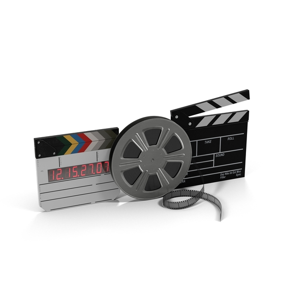 Movie Reel and Clapperboards Object