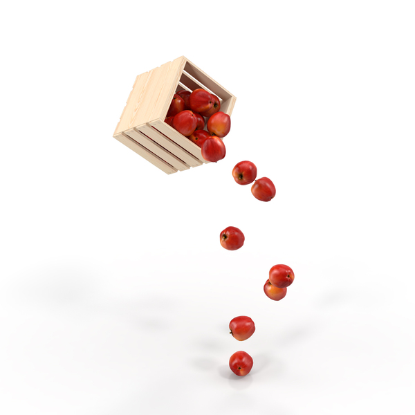 Pouring Apples out of a Wooden Crate Object