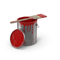 Paint Can and Brush Dirty Object