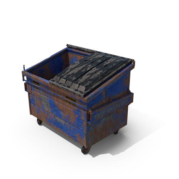 Destroyed Dumpster Half Open Object