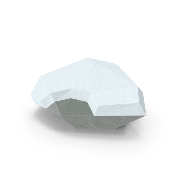 Low Poly Rock with Snow Object
