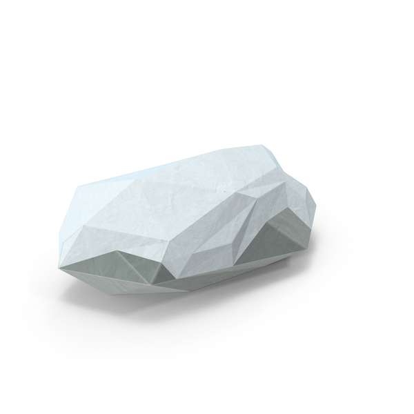 Snow Covered Rock Low Poly Object