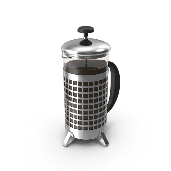 French Press Coffee Pot Full Object