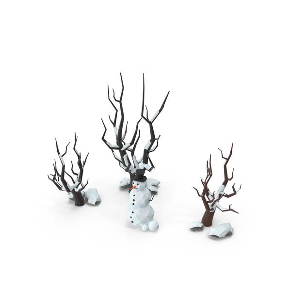 Low Poly Snow Scene Snowman Object
